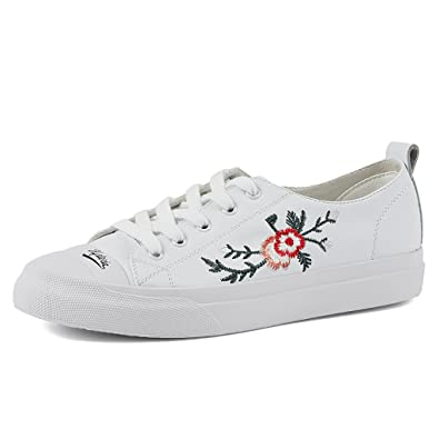 Embroidered Roses White Casual Sports Shoes Simple Flat Shoes Girls