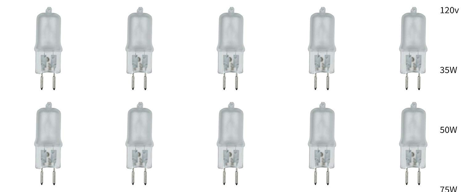 10 Pack Frosted Lense Dimmable 120V G5.3 JCD 75 Watt 120 Volt Halogen Light Bulb Electric Bulbs Replacement Candle Oil Warmer Oven Microwave Aromatherapy Lamp Incense Diffuser Dimming Wax Burner 75W