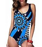 Women Plus Size Swimwear One-Piece Floral Bikini Beachwear Swimsuit Padded Swimwear (Blue, 2XL)