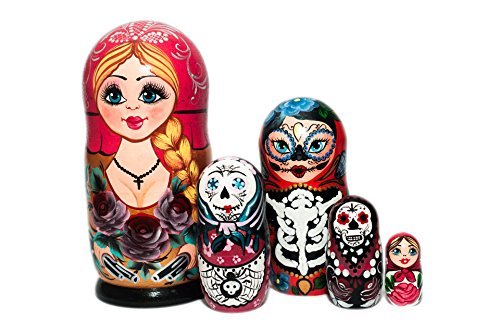Halloween Nesting dolls, Handmade, Hand painted wooden nesting dolls, Halloween Decor, Russian nesting dolls for kids, Halloween gift, Developing skills toy , Los Dios Muertos, Day of the dead