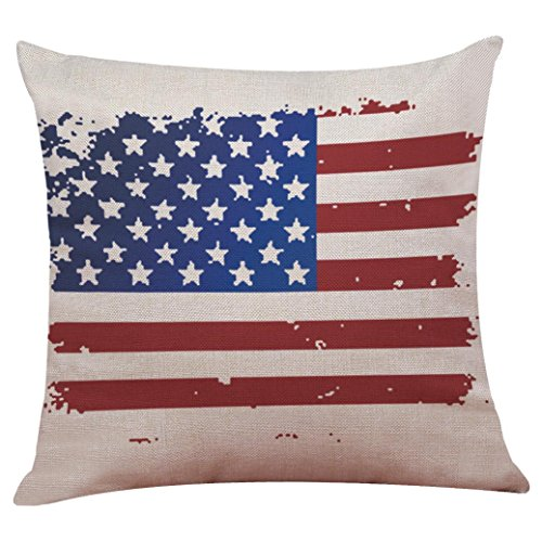 2017 Independence Day Pillow Case,Elevin(TM)New Vintage Patriotic American Flag Pillow Cases Cotton Linen Sofa Cushion Cover Home Decor (S)