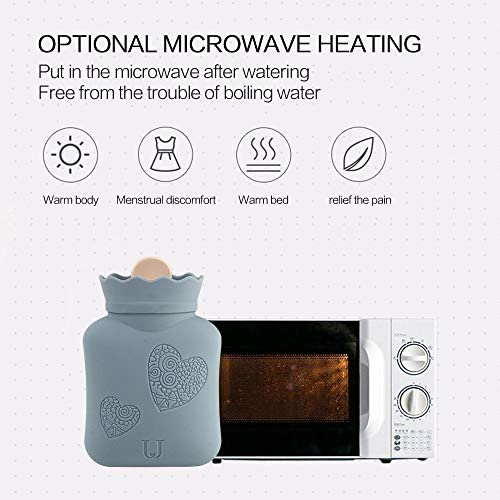 Microwave Heating Bottle Environmental Silicone Transparent Hot Water Bag with Knit Cover, Hot & Cold Therapies - Gift for Birthday, Christmas, ...