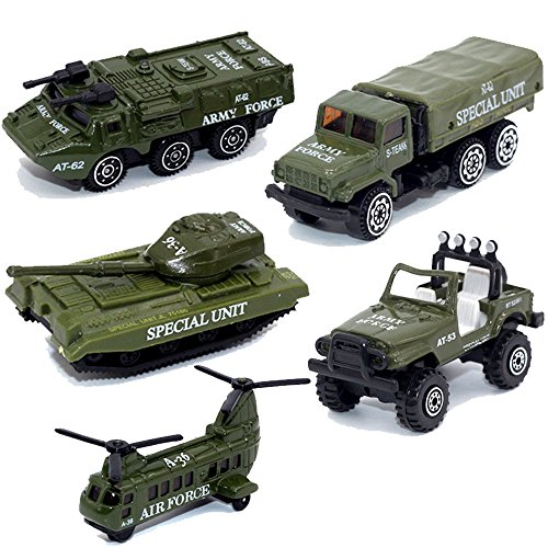 (MinYn Army Vehicles Alloy Military Model Car Set 5 pcs Diecast Metal Army Toys Mini Helicopter Tank Jeep Truck Armored Car for Kids Boys)