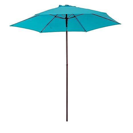 Charmant FLAMEu0026SHADE 7u00275u0026quot; Outdoor Patio Market Umbrella With Push Button ...