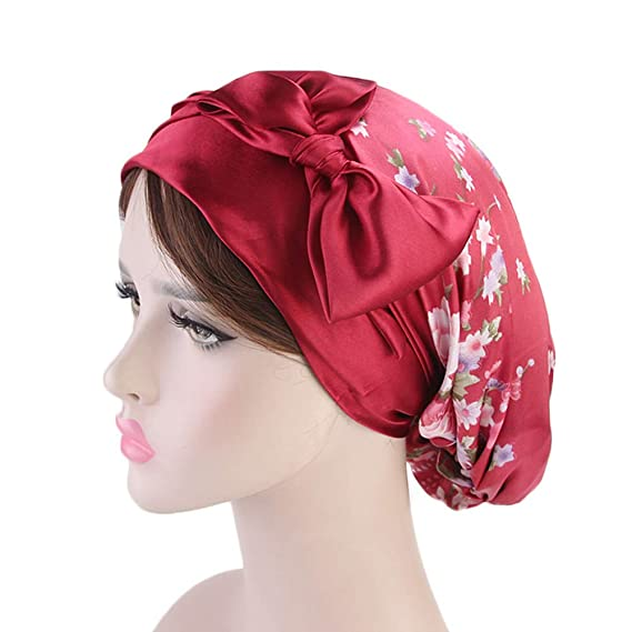 1940s Hairstyles- History of Women's Hairstyles Vintage Women Satin Head Scarf Chemo Cap Bowknot Turban Head Wrap Hair Loss Cap Headwrap $10.99 AT vintagedancer.com