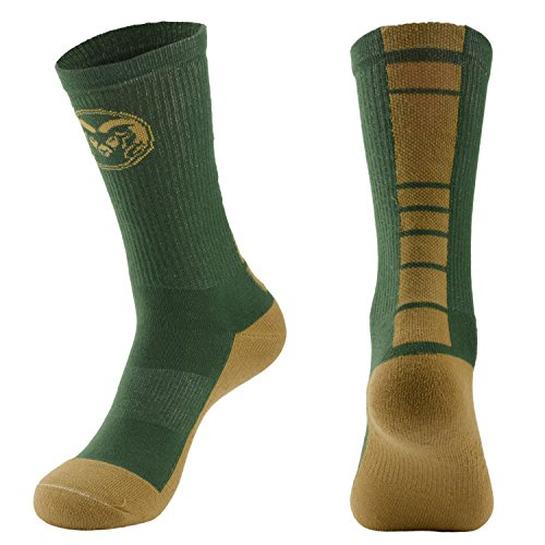 College Edition NCAA (Team) Men's Made in The USA Polytek Champ Performance Crew Socks with Wicking Material and Extra Cushion,Green/Gold,Womens Medium - Teams College Green