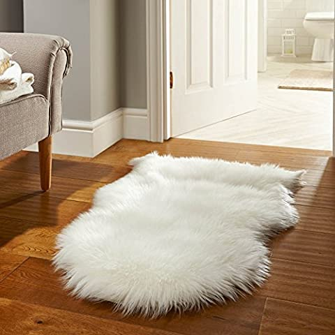 """Luxe Furs Ultra-Soft Faux Fur Sheepskin Rug: Genuine Ivory Pelt, Perfect Chair Cover and Seat Cushion Pad, Area Rug for Couch, Living Room, or Bedroom Floor, 2ft by 3ft (24"""" x (Fox Fur Rug)"""
