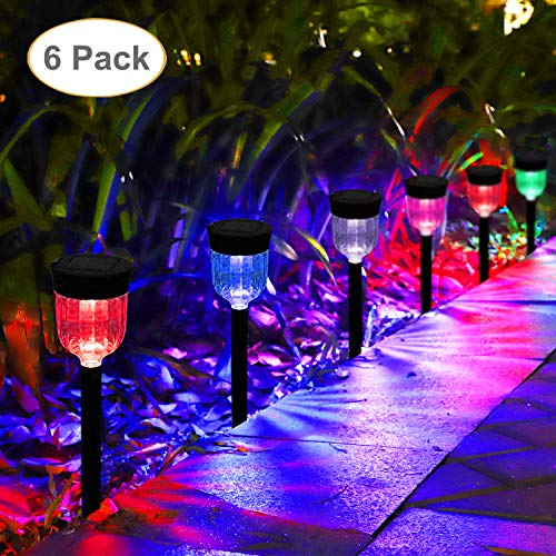 GELOO Solar Lights Outdoor 6 Pack Color Changing Solar Garden Lights Outdoor Solar Pathway Lights Colored Landscape Lighting Waterproof Solar Lights for Lawn Patio Yard Walkway Sidewalk