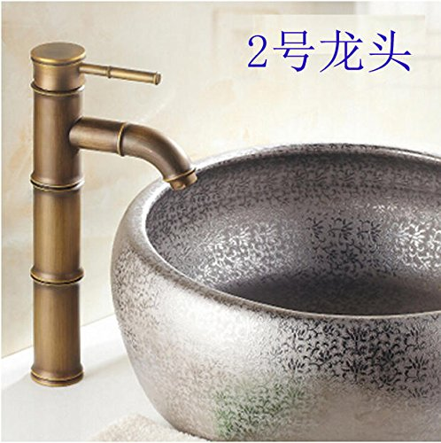AWXJX European Style Retro Style Copper Basin Hot and Cold Bath Mixer Tap by AWXJX Sink faucet