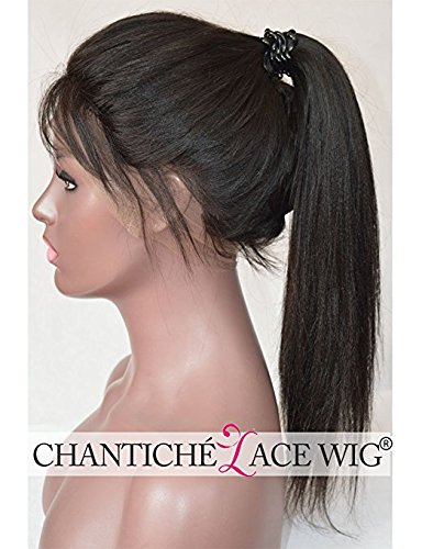 Chantiche 6A Light Yaki Glueless Full Lace Wig Affordable Brazilian Human Hair Wigs For African American Women 130% Density Medium Size Cap