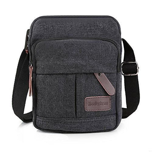 e3096ca2a74 Koolertron Men's Shoulder Bag Canvas Retro Classic Sports Zipped Boy Over  Shoulder Bag Small Lightweight Long Strap for Phone iPad Mini (Grey, ...