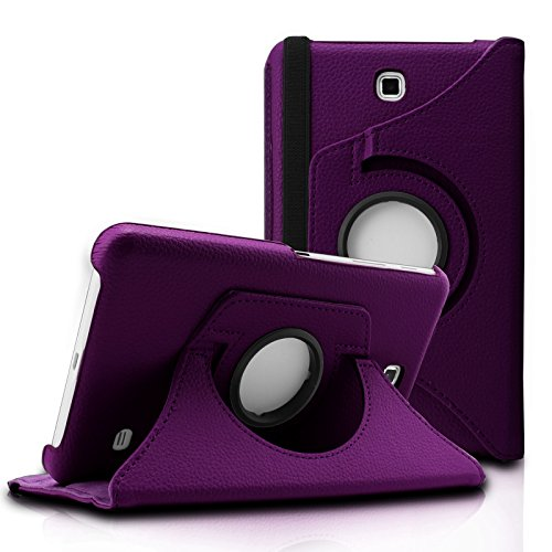 Infiland Samsung Galaxy Tab 4 7.0 Case, PU Leather 360° Rotating Stand Case Cover for Samsung Galaxy Tab 4 7-Inch / Galaxy Tab 4 Nook 7.0 (Galaxy Tab 4 7.0, Purple) (Galaxy Tab 4 Case Nook)