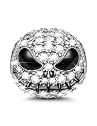 GNOCE Little Monster Black Charms 925 Sterling Silver Beads Charms with Cubic Zirconia for Bracelets & Necklaces