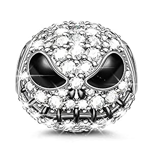 "GNOCE ""Jack Skull Charm Bead 925 Sterling Silver Beads Charms Black Plated with Cubic Zirconia for Bracelet Necklace Halloween Jewelry Gift"