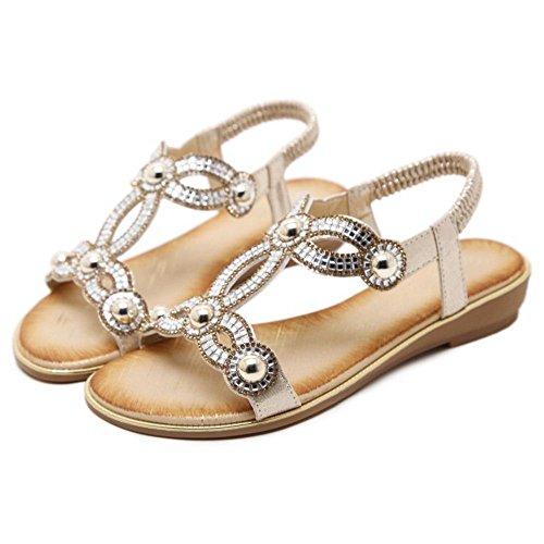 Bout Femmes Ete JOJONUNU Ouvert Gold Sandales 0qdw5B