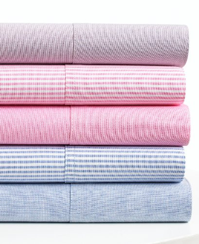 Ralph Lauren University Bedding Blue Solid Oxford Twin Sheet Set Blue Oxford