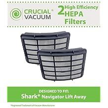 2 Shark Navigator Lift-Away Professional Vacuum NV355, NV356, NV356E, NV357, NV350E, NV400 Washable Post-Motor HEPA Filters, Compare to Part# XHF350, Designed & Engineered by Crucial Vacuum
