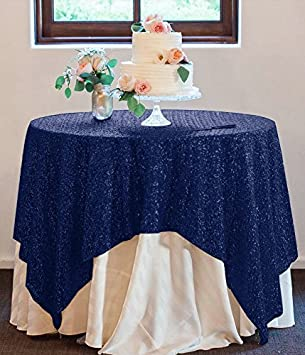 ShinyBeauty 60x60 Inch Square Sequin Tablecloth Navy Blue Sparkly Sequin Table  Overlay