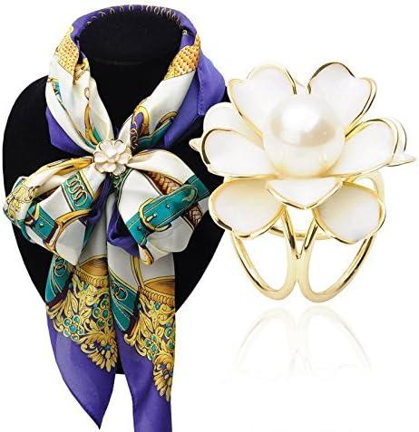 スリーリングフラワーデザイン スカーフショール バックル ファッションスタイル 素晴らしい 飾り