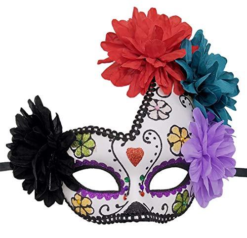 Women's Mexican Day of The Dead Mask Sugar Skull Flower Halloween Glitter Fancy Mask (Purple red Heart -