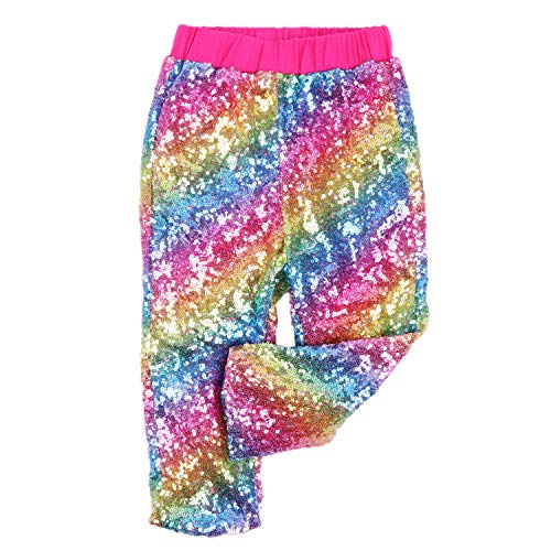 - Cilucu Leggings for Baby Girls Toddler Sequin Rainbow Pants Hot Pink Kids Birthday Clothes Sparkle on Both Sides 5T