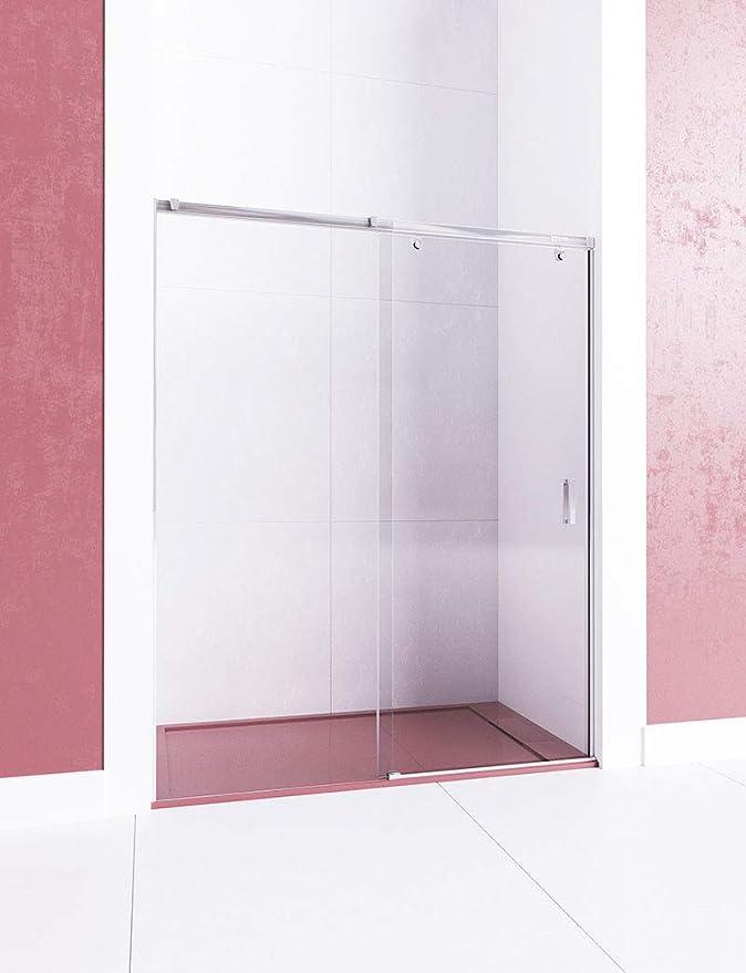 Modelo MIRIEL - Mampara de ducha frontal de 1 hoja fija y 1 puerta corredera Cristal 6 mm en Puerta y 8 mm en fijo con ANTICAL INCLUIDO: Amazon.es: Bricolaje y herramientas