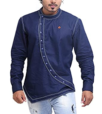 PP Shirts Men Denim Partywear Shirt: Amazon.in: Clothing & Accessories