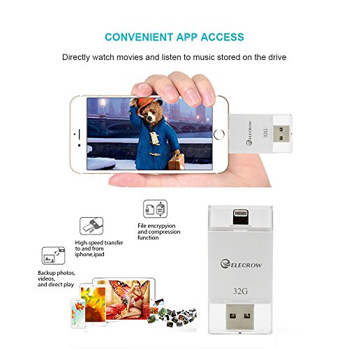 [해외]ELECROW 32GB 외장형 메모리 USB 플래시 드라이브 5, 5, 5c, 6, 6 Plus, 6s, 6s Plus 7Plus iPads iPod Computing 용 외장형 스토리지 확장/ELECROW 32GB External Memory USB Flash Drive External Storage Memory Expansion for iPhone 5, 5s, 5c,...