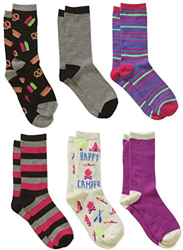 Womens Happy Camper Mixed Novelty Crew Socks 6 Pack