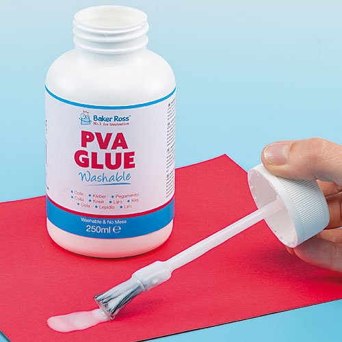Baker Ross Washable PVA Glue with Integral Brush For Kids Arts and Crafts
