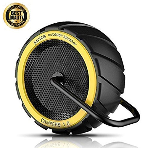 Bluetooth Speakers Outdoor, Portable Speakers with Built-in Microphone, IPX4 Water Resistant Perfect Wireless Speakers for Home, Outdoor - Campers V1.0 (Yellow) by MR.ICE