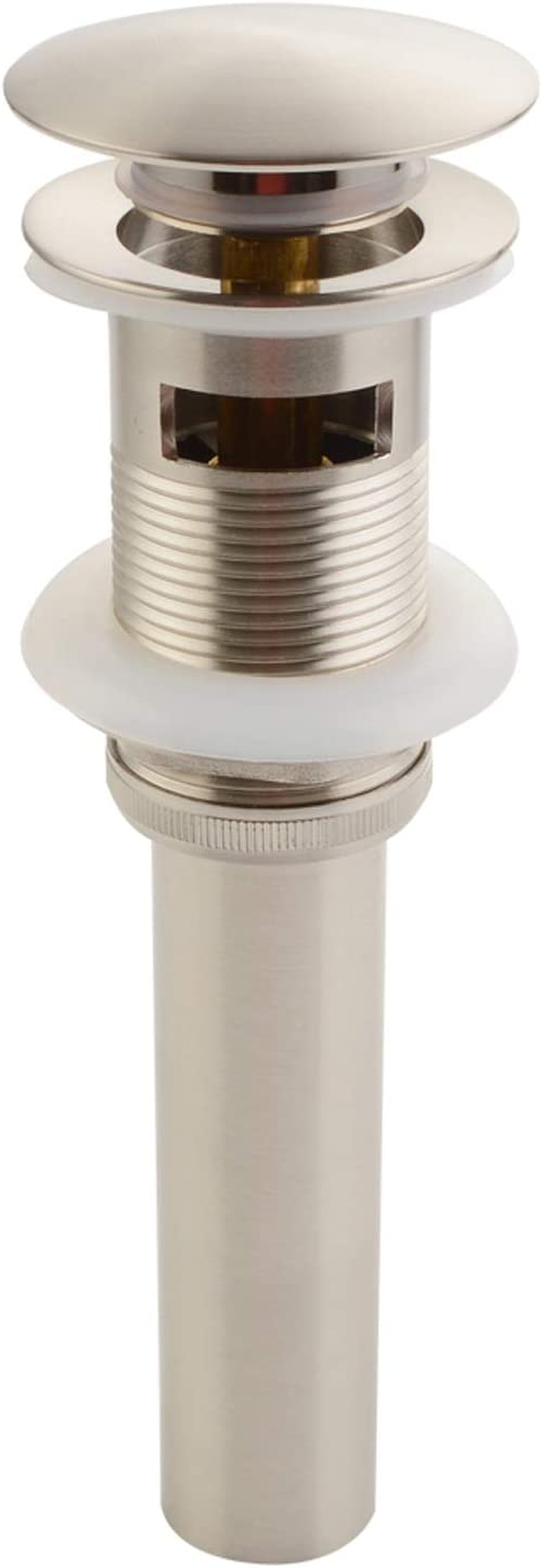 Bathroom Sink Drain, Angle Simple Brass Pop Up Drain Stopper, Vessel Sink Drain with Overflow, Lavatory Vanity Sink Drain Stoppers Brushed Nickel