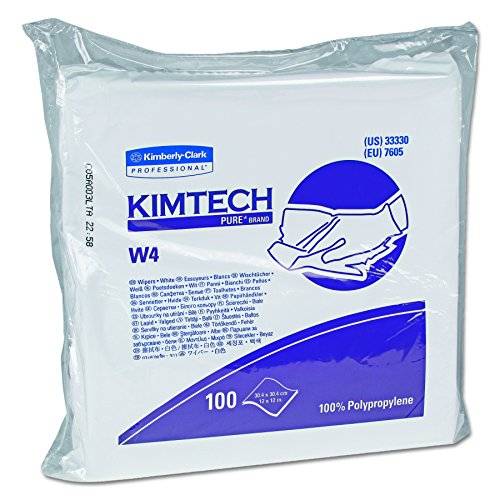 Kimtech 33330 W4 Critical Task Wipers, Flat Double Bag, 12x12, White, Pack of 100 (Case of 5 Packs) by Kimberly-Clark Professional