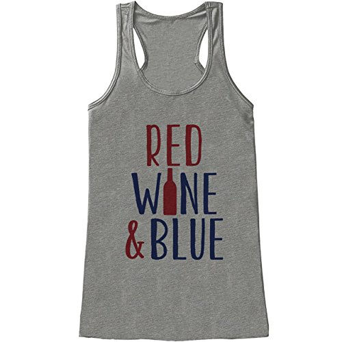 Custom Party Shop Women's Red Wine & Blue 4th of July Grey Tank Top (Wine Custom Fabric)