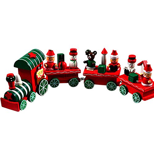 Geology Rocks Play Costumes (HANYI 4 Pieces Wood Christmas Xmas Train Decoration Decor Gift)