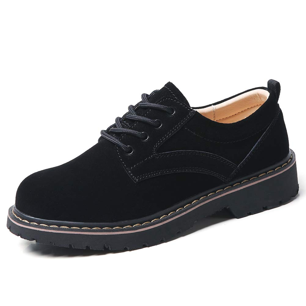 YKH-WF030heise38 Womens Round Toe Suede Leather Lace up Oxfords Shoes Low Top Casual Sneakers Black 7 US