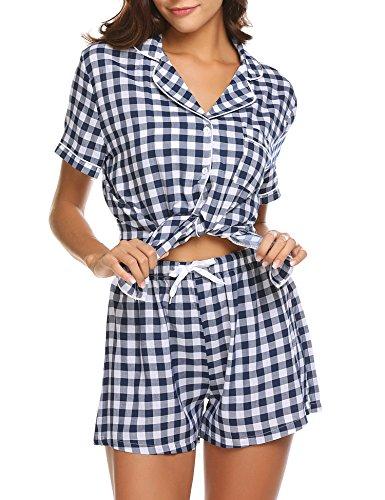 4fcfcb225a Ekouaer Womens Sleepwear Nightgown Lightweight Viscose Tank Top Short  Sleeve T Shirt and Shorts Pajama