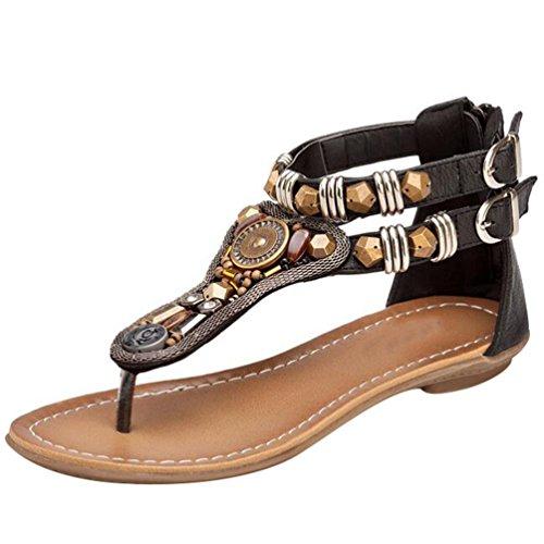 NiSeng Mujer Roman T-Correa Sandalias Diamante De Imitación Chanclas Sólido Cremallera Plana Con Tanga Zapatos Negro