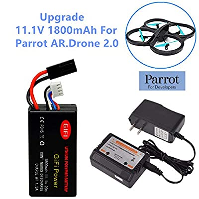 GiFi Power Upgrade 11.1V 1800mAh Li-Po Battery Replacement Battery for Parrot AR Drone 2.0 Battery with Balance Charger: Home Audio & Theater