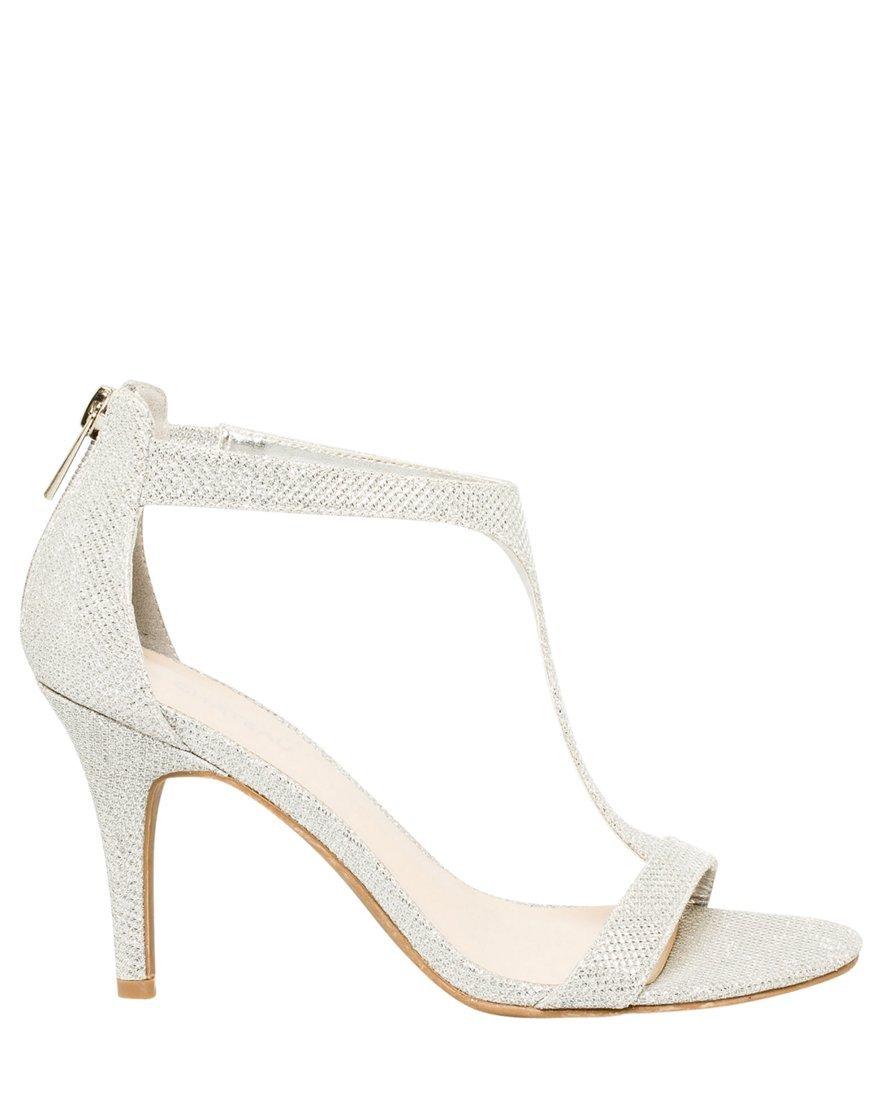 LE CHÂTEAU Women's Glitter Mesh T-Strap Heeled Sandal,8,Silver