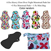 Florencenid Almohadilla de higiene Reutilizable Lavable 5 Piezas Almohadillas menstruales + 1 Bolsa Bolsa
