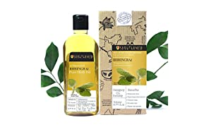 Soulflower Coldpressed Bhringraj Pure Herb Oil, 100% Pure and Natural Hairfall Control Oil, Adds Shine and Volume to Hair, Controls Premature Graying, 6.77 fl.oz with Free Mini Travel Spray