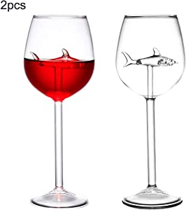 HOMEACC 2 Packs Shark Wine Glass Goblets-Fun Novelty Bar Gift for Wine Lovers Party Flutes Glass Great For A Fancy Party Christmas,Halloween And Celebration