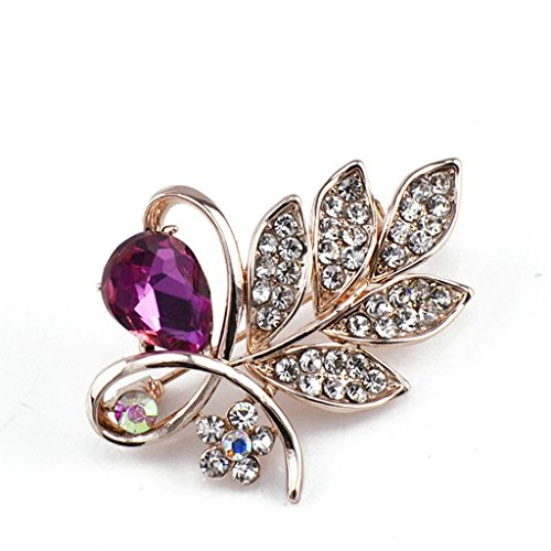 AmDxD Jewelry Gold Plated Brooch Vintage 2 Drop Leaf White Red Brooches and Pins for Women Gold Plated Locket Brooch