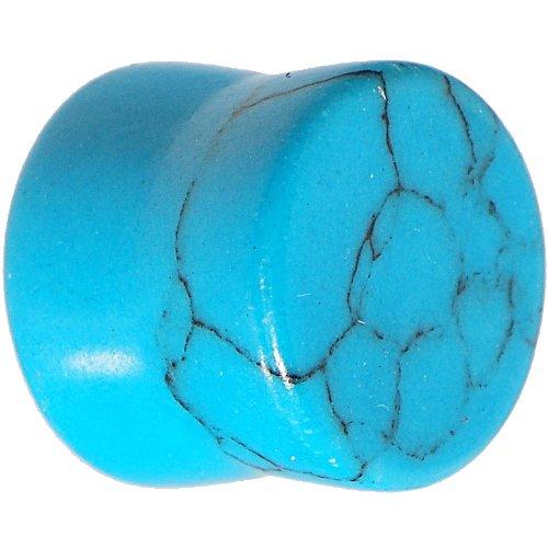Body Candy Natural Turquoise Stone Saddle Ear Gauge Plug (1 Piece) 00 Gauge ()