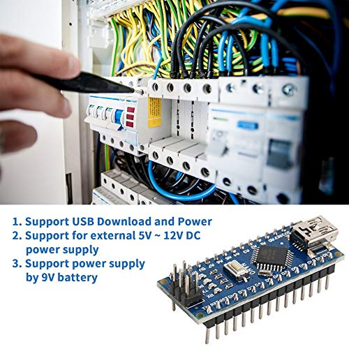 Nano ATMEGA328P Mini USB avec Chargeur de d/émarrage Compatible pour contr/ôleur Arduino Nano V3.0 CH340 USB Driver 16Mhz Bleu