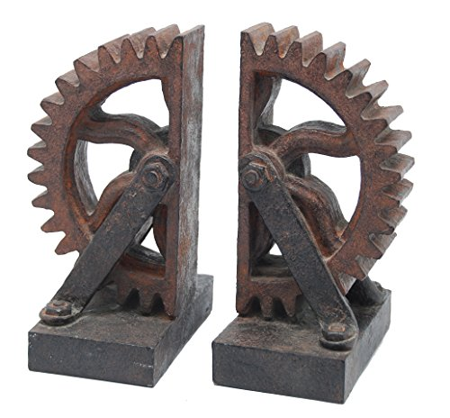 Sagebrook Home AR10433-03 S/2 Wheel Gear Bookends, 4.65