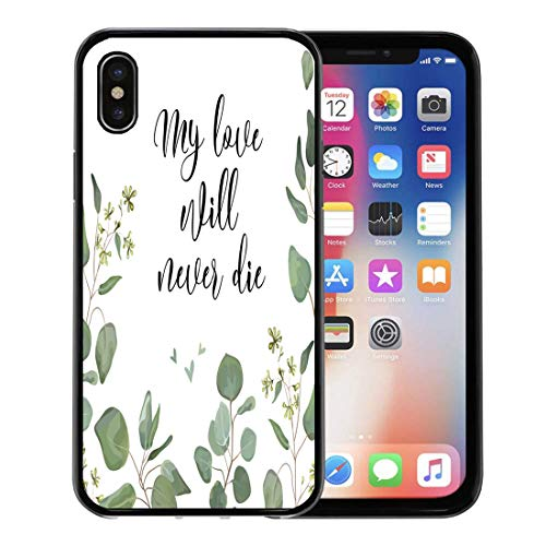 (Semtomn Phone Case for Apple iPhone Xs case,Seeded Eucalyptus Silver Dollar Green Branches Leaves Foliage Border Floral Watercolor Forest Elegant for iPhone X Case,Rubber Border Protective Case,Black)