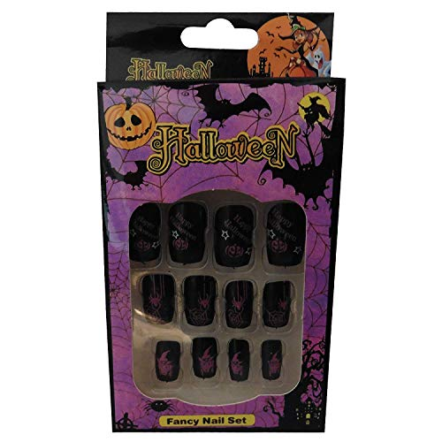 12 Halloween Themed Fake Nails with Glue (HN9)]()