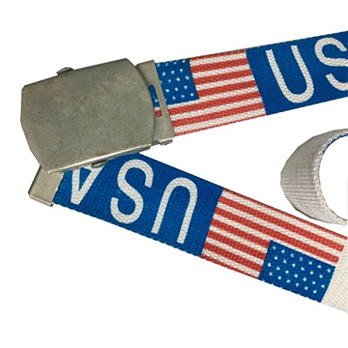 "Price comparison product image ICE USA Flag Canvas Military Style Belt with Silver Buckle. 44"" and Cut to Size (USA)"